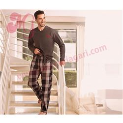 "Pijama cro. m/l p/l punto + tela ""chill"" - jan men"