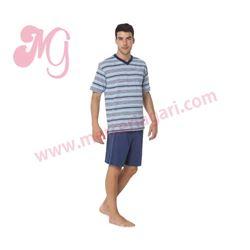 """Pijama cro. m/c p/c rayas 100% alg. """"34087-60"""" - punto blanco"""