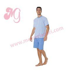 """Pijama cro. m/c p/c rayas 100% alg. """"34094-60"""" - punto blanco"""