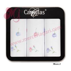 "Pack-3 pañuelos sra. blanco + flores ""m140"" - canellas"