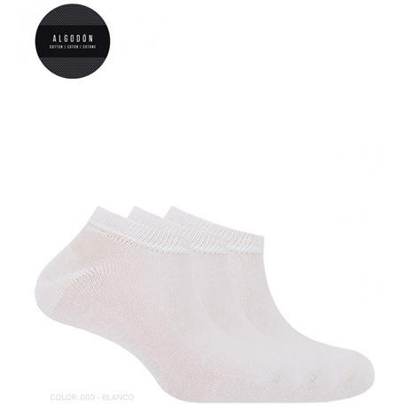 "Pack-3 calcetines cro. tobilleros ""14879-00"" - punto blanco"