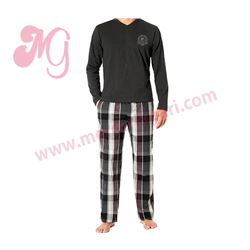 "Pijama cro. m/l p/l punto + tela ""husky"" - jan men"