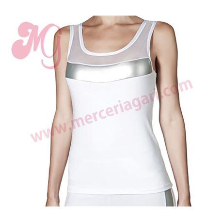 "Camiseta s/m tul + cuero + modal ""im mykonos"" - janira"