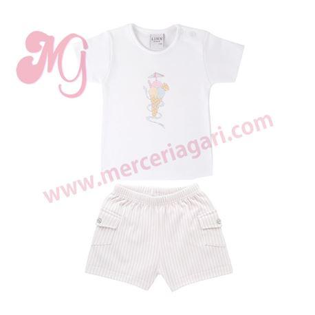 "Camiseta + pantalón corto ""helado 100% alg. - 902/126"" - linn by diacar"