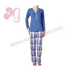 "Pijama sra. m/l p/l punto + tela ""lanak"" - janira"