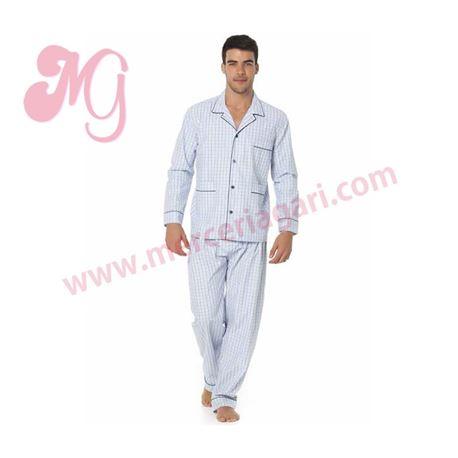 "Pijama cro. tela m/l p/l abierto cuadros ""34119-70"" - punto blanco"