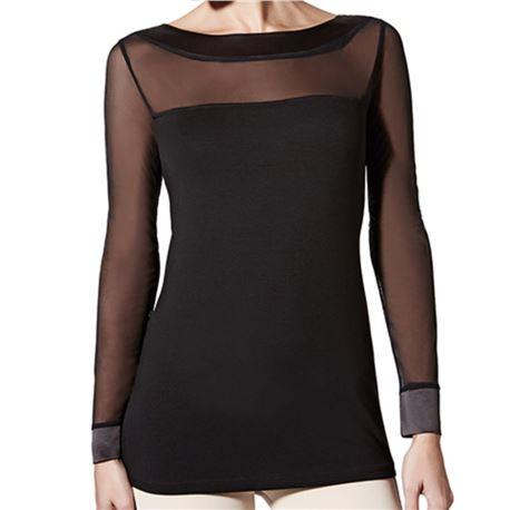 "Camiseta sra. m/l raso + tul + modal ""m/l selena modal"" - janira"