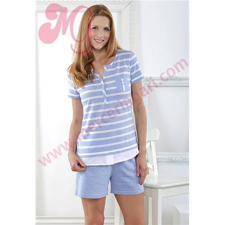"""Pijama sra. m/c p/c 100% alg. rayas """"171257"""" - massana"""