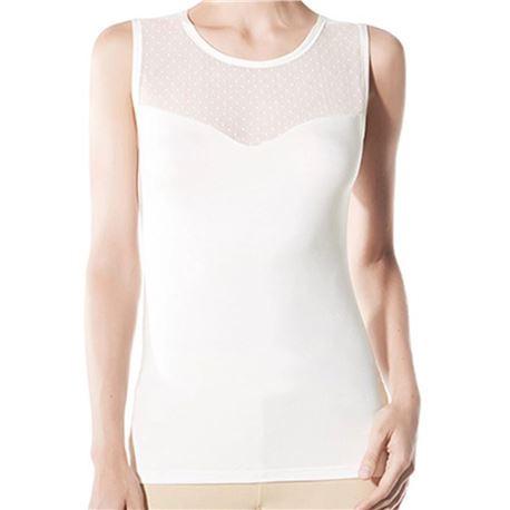 "Camiseta sin manga plumeti + tul + guipur ""cta. s/m versalles"" - janira"
