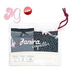 "Pack-2 bragas garden marino + stripes blue ""p2 brislip marina coque. cotton"" - janira"