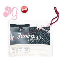 "Pack-2 bragas garden marino + stripes blue ""p2 mini marina coque. cotton"" - janira"