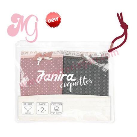 """Pack-2 bragas point pink + tie brun """"p2 brislip dolce coque. cotton"""" - janira"""