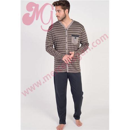 """Pijama cro. m/l p/l abierto rayas """"671323"""" - massana"""