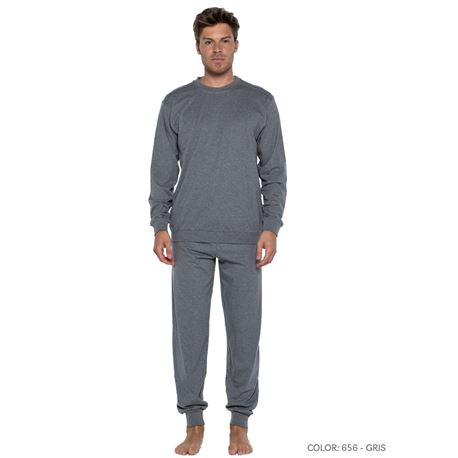 "Pijama cro. m/l p/l 100% alg. esquijama clásico ""54810-70"" - punto blanco"