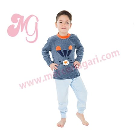"Pijama niño m/l p/l puño tundosado tigre ""182615"" - muslher"