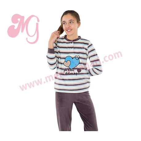 "Pijama niña m/l p/l tundosado corazones ""184618"" - muslher"