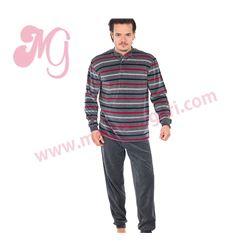 """Pijama cro. m/l p/l tundosado rayas """"185607"""" - muslher"""