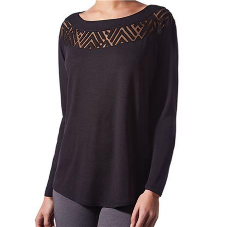 "Camiseta sra. m/l diseño geometrico "" cta. m/l loose aristas modal"" - janira"
