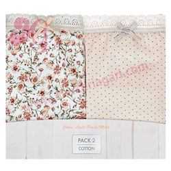 "Pack-2 bragas 96% alg. flores + topitos ""p2 mini blooming coq. cotton"" - janira"