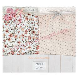 "Pack-2 bragas 96% alg. flores + topitos ""p2 brislip blooming c.cotton"" - janira"