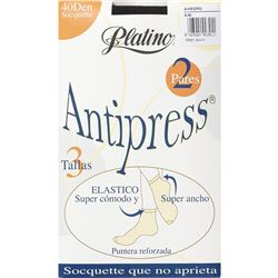 "Calcetín media tobillero antipress 2 pares 40den ""33331"" - platino"