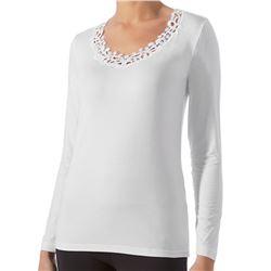 "Camiseta sra. m/larga guipour + micro-modal ""m/l artic modal"" - janira"