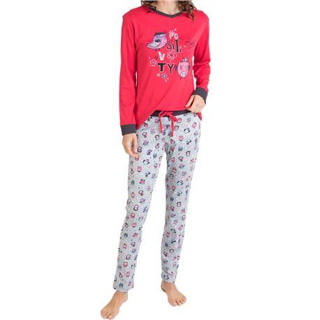 "Pijama sra. m/l 100% alg. buhos ""701215"" - massana"