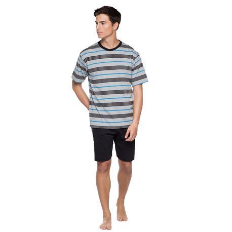 """Pijama cro. m/c p/c 100% rayas """"34226-60"""" - punto blanco"""