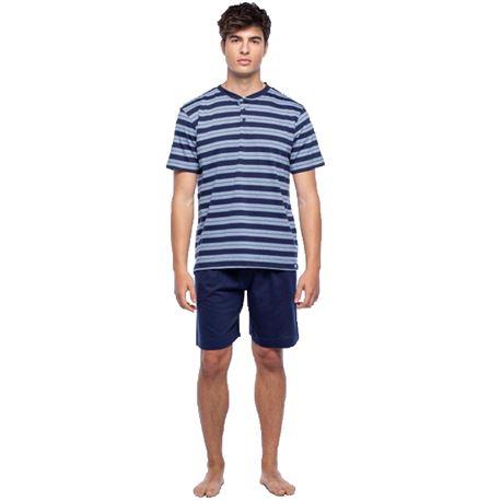 """Pijama cro. m/c p/c 95% alg. rayas """"34287-60"""" - punto blanco"""