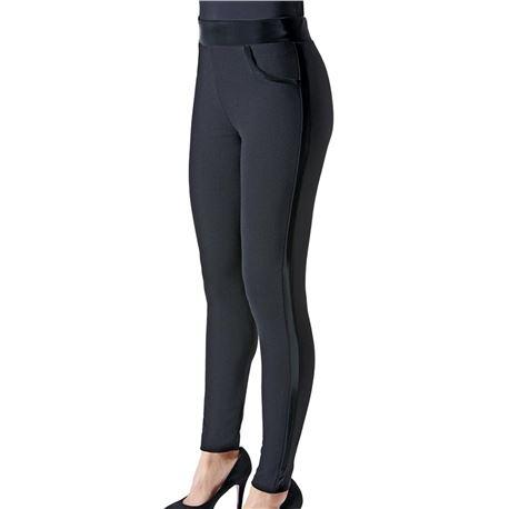 "Legging sra. punto + cuero ""strip vinyla"" - janira"