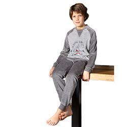"Pijama niño m/l p/l tundosado puño rayas ""213607"" - muslher"