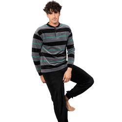 "Pijama cro. m/l p/l puño tundosado rayas ""215603"" - muslher"